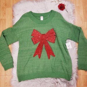 New Holiday Time Christmas Sweater XXL Green Red